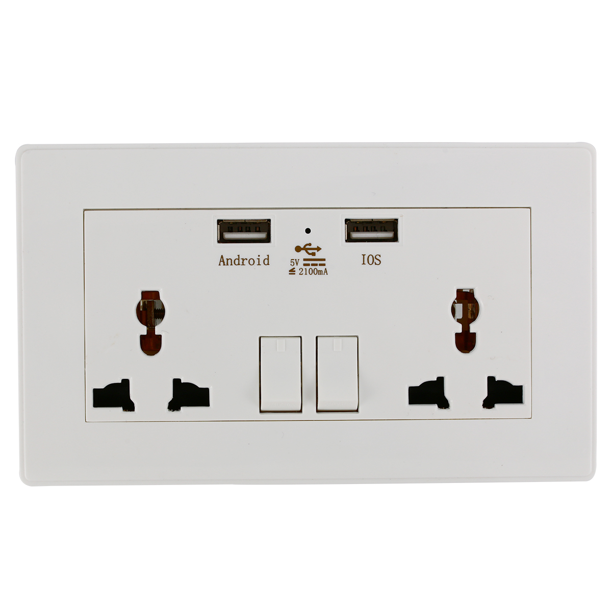 Universal Wall Socket Dual 2 USB Plug Switch Power Supply Plate 2100mA Charger Electric Outlet Adapter BI119 - Xcs Tech Co. Store store