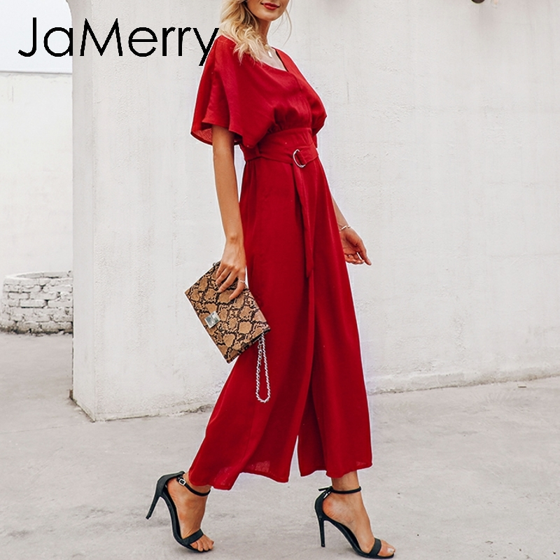 JaMerry 2019 vintage elegant ruffle sleeve   jumpsuit   women Sexy deep v neck spring   jumpsuits   romper Sash wide leg streetwear