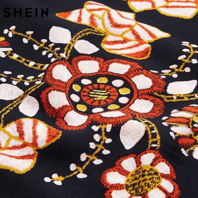 SHEIN Black Plus Size Floral Embroidery Tunic Dress Spring Summer Elegant Large Sizes Tribal Flower Print Vocation Dress 4