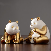 Modern simple gold panda decorations living room office TV cabinet wine cabinet furnishings home decoration accessories modern