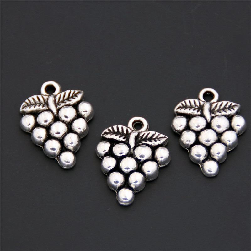 15pcs Antique Silver Zinc Alloy Grape Charms Pendants For Jewelry Making DIY Handmade Craft A2409