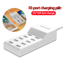 USB Smart Charger 10 Ports USB Hub Fast Charging Station Power Adapter Universal for Phone iPhone 8 Plus X iPad Samsung Huawei 40 ports usb charger 300w 5v 60a smart charging station built in cooling fan fast charging for tablets laptop phone pad camera