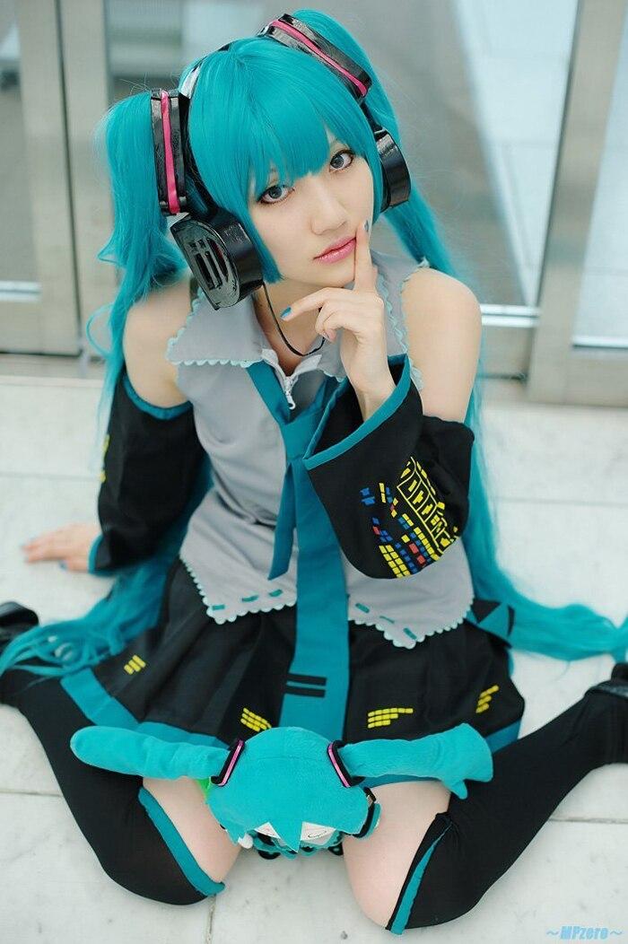 Conjunto completo vocaloid cosplay hatsune miku cosplay trajes de disfraces trajes de cosplay del anime harajuku (dress + socking + guantes + tie + belt)