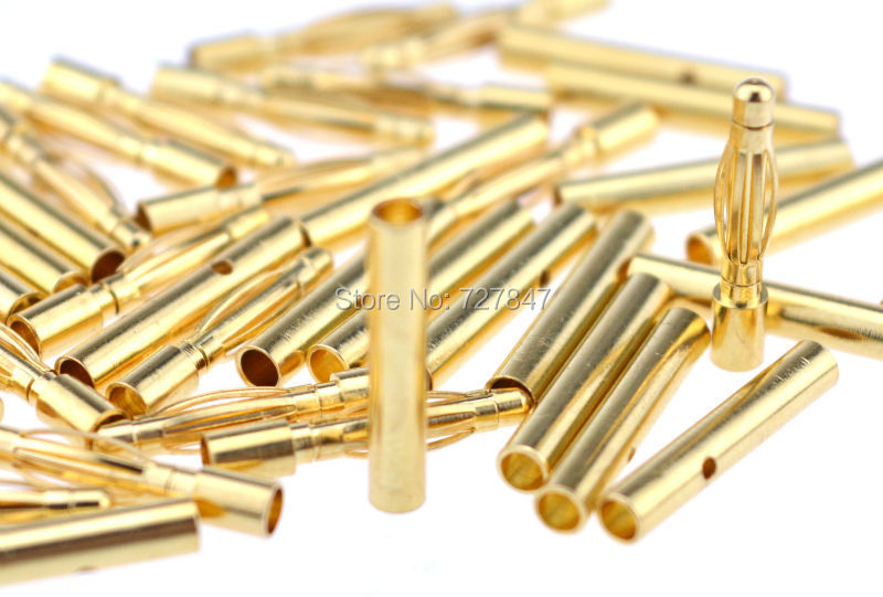 2.0MM 2MM Gold Bullet Banana Connector Plug Banana Plugs for ESC Lipo RC Battery Plugs QAV250 C250 10 pairs 20 pairs