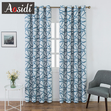 Modern Blackout Curtains For Living Room Bedroom Window Blue Cracked Printed Cloth Luxury Decor Finished Drapes Blinds
