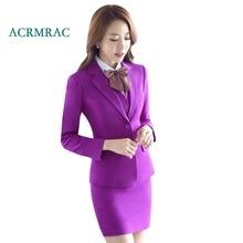 ACRMRAC Women's suits 2018 New Spring and autumn Solid color purple Slim Blazers pants Business OL Formal Pants Suits