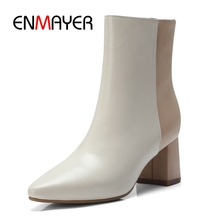 ENMAYER  Pointed Toe Womens Boots Ankle for Women Lace-Up Winter Size34-39 ZYL1784