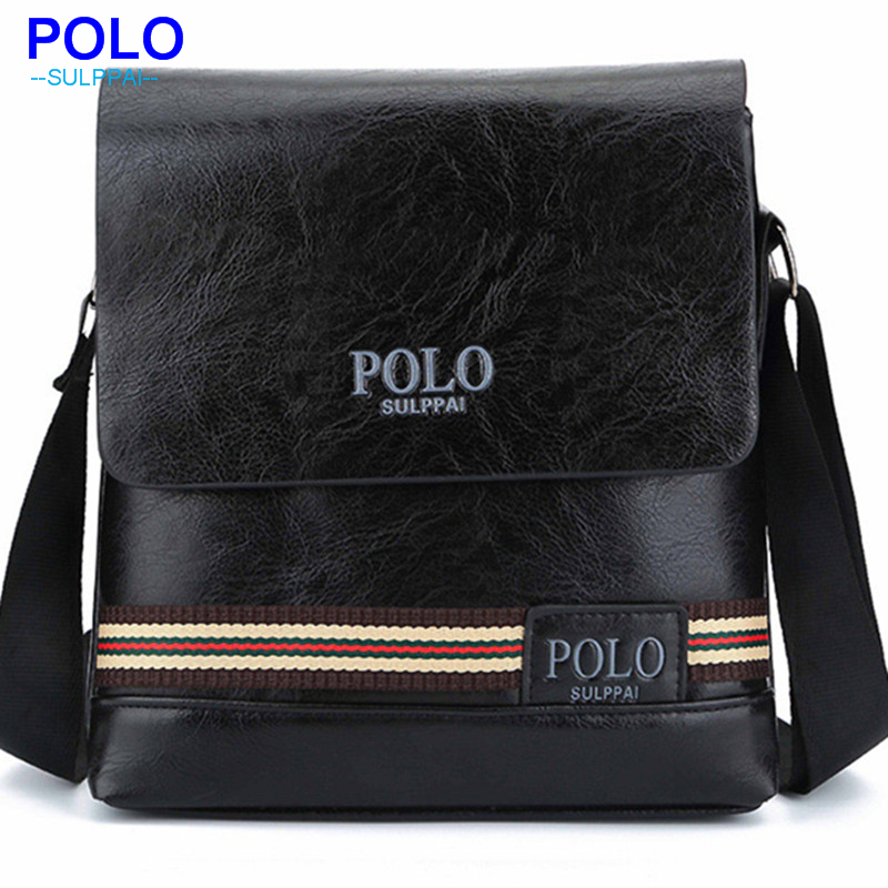 купить HENGSHENG POLO men bag with high quality PU leather men shoulder bags of fashion business men messenger bags men shoulder bag недорого