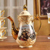 European style Royal Tea set Ceramic Coffee set Porcelain Cups and Saucers Housewarming Gift