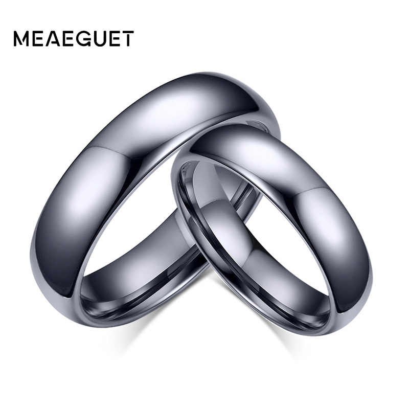 Meaeguet Classic Lover's Tungsten Carbide Wedding Rings High Polished Solid Silver Color Rings For Engagement Jewelry