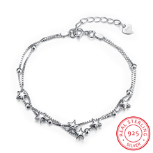 100% 925 Sterling Silver Chain Bracelet for Women Crystal Star Double Layer Charm Bracelet Bangle Luxury Jewelry Christmas Gift
