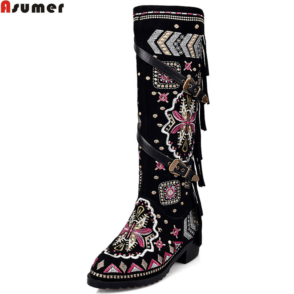 ASUMER fashion women boots round toe square heel cow suede ladies boots zipper round toe fringe buckle knee high bootsASUMER fashion women boots round toe square heel cow suede ladies boots zipper round toe fringe buckle knee high boots