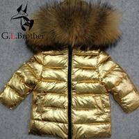 30 градусов детская верхняя одежда, пальто натуральный мех енота мальчик пуховик белая утка вниз Зимнее пальто для девочек с капюшоном Детс