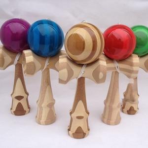 Image 1 - 1 Piece Professional Bamboo PU Paint Wooden Kendama Balls Skillful Jumbo Kendama Outdoors Juggle Game Balls Toys for Gifts