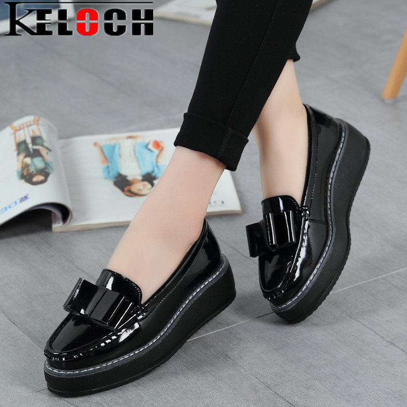 Keloch Women Summer Platform Shoes Creepers Loafers Moccasins Patent Leather Slip On Chaussure Femme White Flats Shoes Woman women s platform flats loafers genuine leather slip on brogues shoes for women female footwear brand designer moccasins calzados