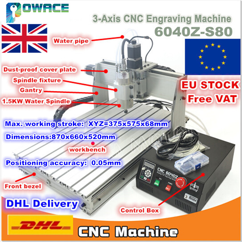[EU Stock/Free VAT] 3 Axis 6040 1500W Spindle Mach3 6040Z-S80 CNC Engraving Milling Machine 110V/220VAC DB25 Port