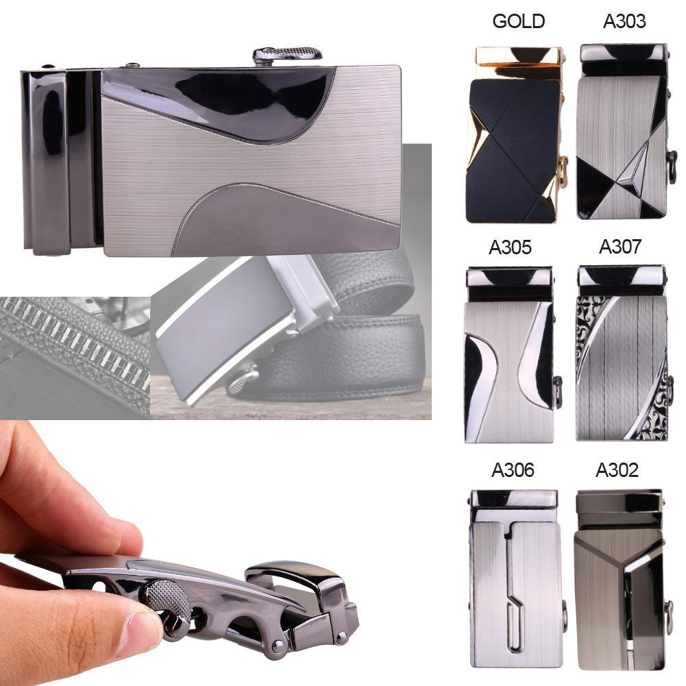 Men Automatic Buckle Belt Leather Belts Waist Ratchet Business Waistband Buckles Belts Alloy Belt Buckle Auto Buckle
