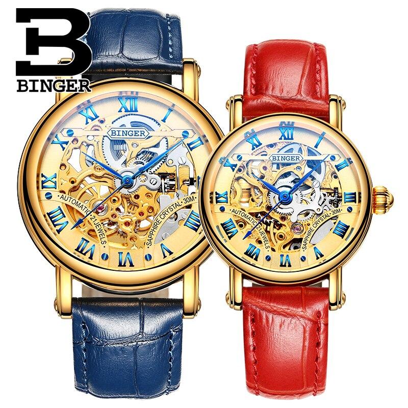 Luxury Gold Skeleton Lovers Mechanical Saphir Watches Self-wind Men Roman Business Watch Waterproof Hollow Women Leather Montre