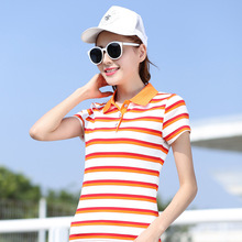 2017 Summer Fashion Polo Shirt Women Cotton Slim Short Sleeved Women's Clothing Female Plus Size Tops Striped Casual POLO Shirt