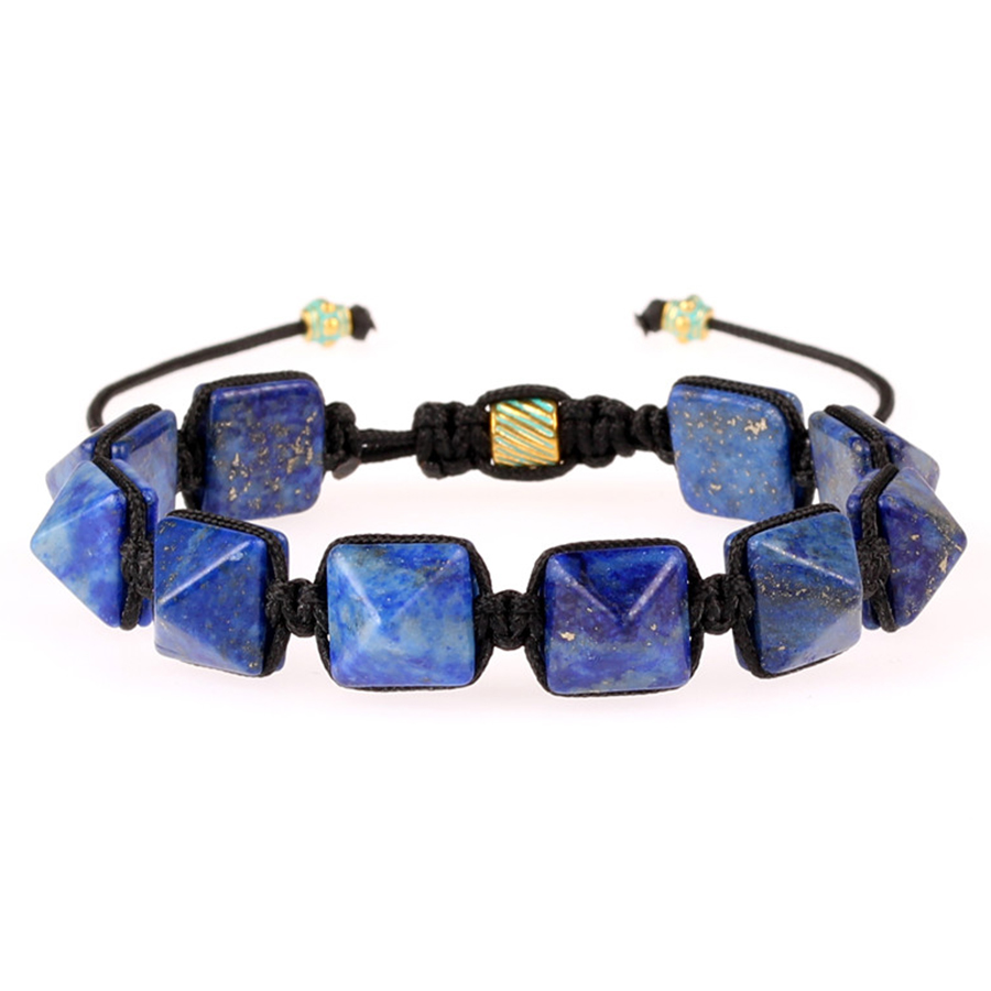 Trendy Semi-precious Stone Pyramid Bracelet Women Men AAAA Natural Stone Handmade Energy Biker Bracelets Healing Yoga Pulsera