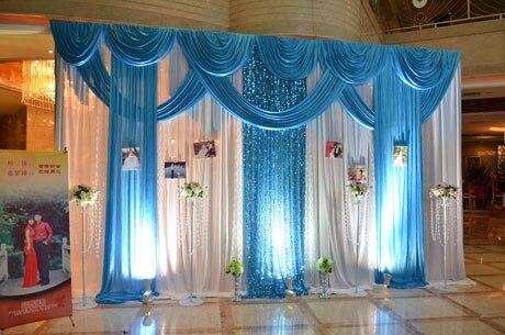 Draperie de tissu de soie de glace de noce de 3*4 m blanc avec la couleur bleue avec la toile de fond de rideau de mode de support d'étape de swag