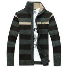 plus size mens sweaters men thick long sleeve preppy style cardigan student striped jacket casual knitted sweater clothing B002