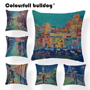 Cojín con diseños en acuarelas cubierta casa almohada cojín caso lago silla Vintage pintura de las luces de la calle almohadas paraguas 45Cm arpillera