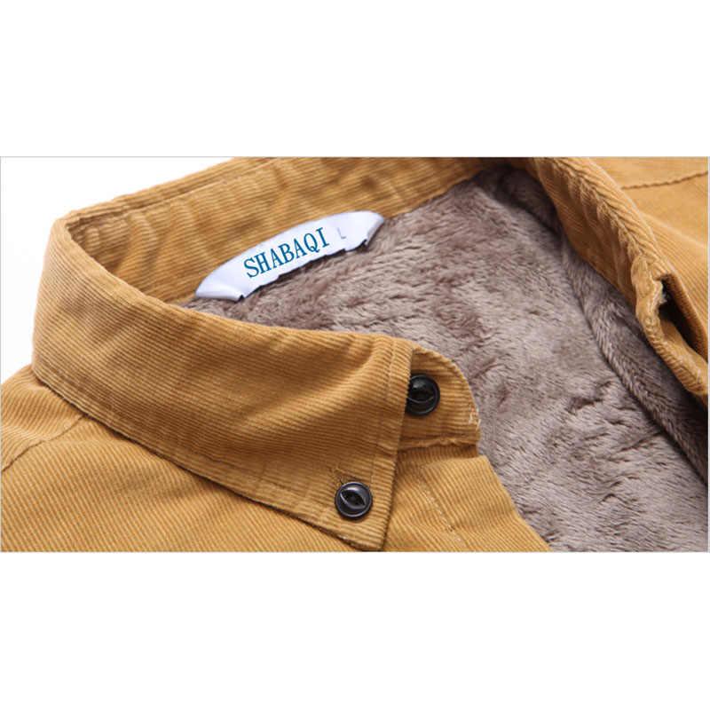 2019 男性コーデュロイ暖かい冬シャツ厚手のフリース裏地熱シャツ S-4XL 42 43 底入れシャツ