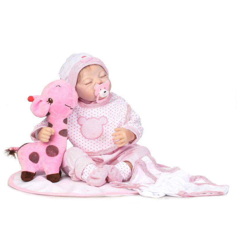 50cm Silicone Reborn Doll Baby Reborn Realistic Magnetic Pacifier Small Giraffe Doll Doll Reborn For Girl Gift