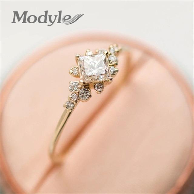 f9da38b49d91 Modyle bonitos anillos de Color plata y oro para mujer boda romántica Rosa  cristal CZ amor