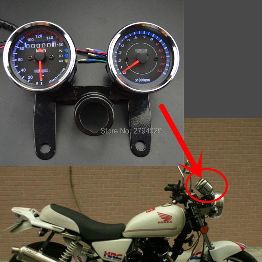 universal motorcycle tachometer speedometer speedo meter. Black Bedroom Furniture Sets. Home Design Ideas