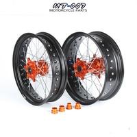 3.5/5.0*17 Supermotard Wheels Orange Hub Black Rim For SXF EXC R XC F SX EXC 300 450 125 250 350 530 2003 2017 2008 2007