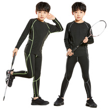 kids Sports Tights Suit Long Sleeve Running Fitness Apparel  Basketball Football Training