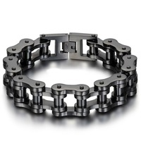 Tisnium Black Bicycle Chain Bangle Stainless Steel Mens Vintage Fashion Jewelry Motorcycle Chain Elegant Male Bracelets