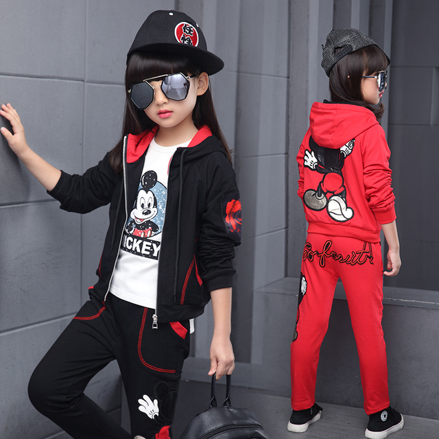 2017 New Arrival Big Girls Mickey Mouse Clothing Set 2pcs Long Sleeve Jacket Pants Suits Kids Cotton Clothes Set 4-14 Years