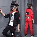 2017 Recién Llegado de Big Girls Ropa de Mickey Mouse Set 2 unids Pantalones de la Chaqueta de Manga larga Embroma la Ropa de Algodón Fijó 4-14 años