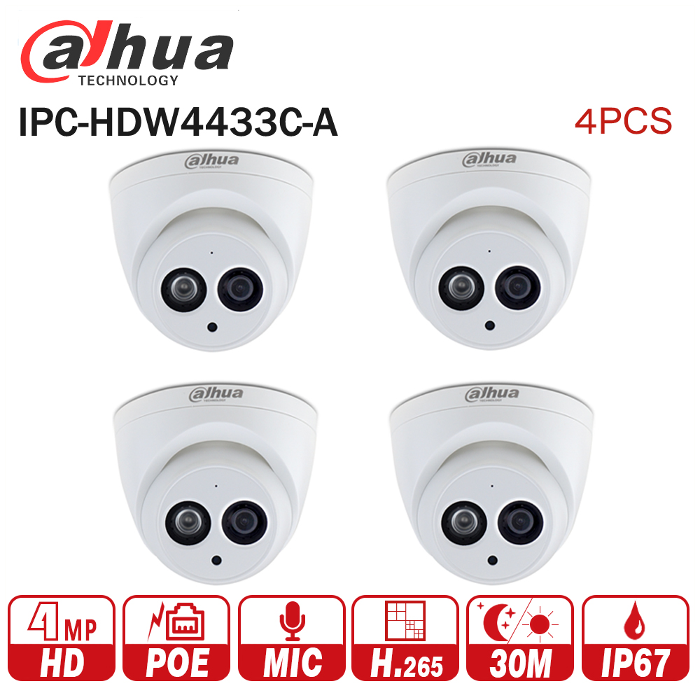 DaHua IPC-HDW4433C-A 4PCS POE Network Mini Dome Camera With Built-in Micro 4MP CCTV Camera 4pcs/Lot for CCTV System free shipping dahua cctv camera 4k 8mp wdr ir mini bullet network camera ip67 with poe without logo ipc hfw4831e se