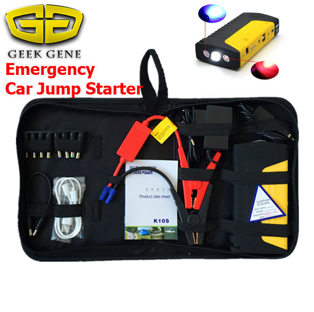 12V Car Battery Charger with Full Set of Kit Seat Belt Cutter Seat Belt Cutter SOS Light Harden Shell Yellow Safe Escape Hammer