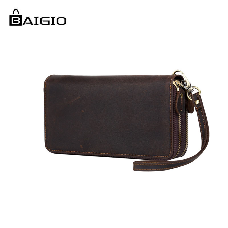 Baigio New Fashion Men Wallets Leather Long Slim Zippered Wallet Brand Designer Card Holder Key Case Hand Clutch Casual Wallet terse key wallet men lettering handmade leather calfhide bespoke wallet men key holder exquisite hand patina good quality