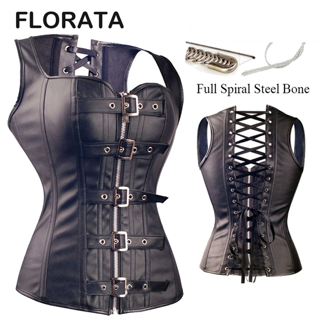 FLORATA Hot Sale Good Quality Black Sexy Women Spiral Steel Boned Faux Leather Overbust Corset Bustier