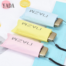 YADA Flat Solid Color Ultralight Mini Five Folding NAZM Umbrella Rain Women uv Charm For Womens Windproof Umbrell YS323