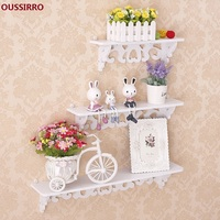 OUSSIRRO 3Pcs/Set New Year Curved Wall Shelf Holder Christmas Decorations for Home Cut Out Design Wall Storage Stand