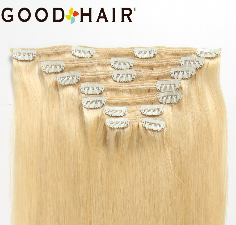 GOOD HAIR Machine Made Remy Clip In Human Hair Extensions Full Head 7Pcs/Set 120G Straight Clip Ins Hair #60 Overseas Warehouse