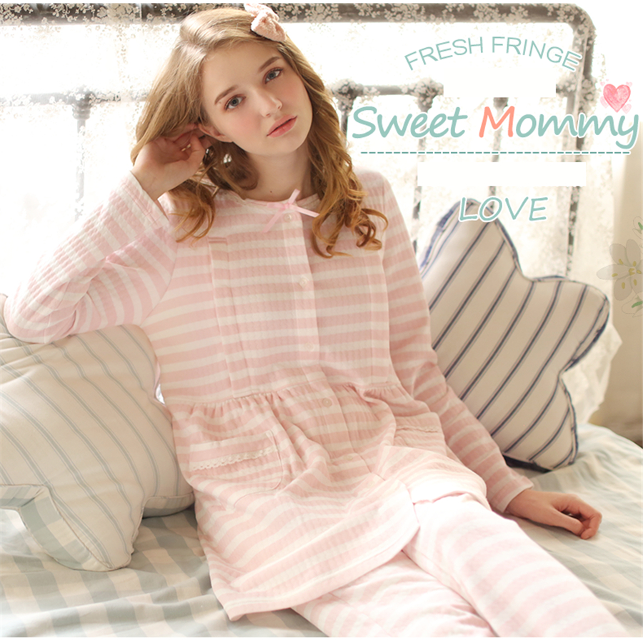 цена на Maternity Breastfeeding Sleepwear Nursing Pajamas Set Long Sleeve Positiekleding Loose Clothes For Pregnant Women Cotton 70M0204