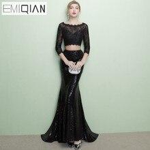 Дизайнер Открытое официальное платье партии выпускного вечера 2 части 3/4 рукава черное высеканное кружево русалка длинные вечерние платья одеяние soiree