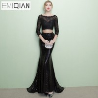 Designer Open Back Formal Prom Party Dress 2 Piece 3 4 Sleeve Black Sequined Lace Mermaid
