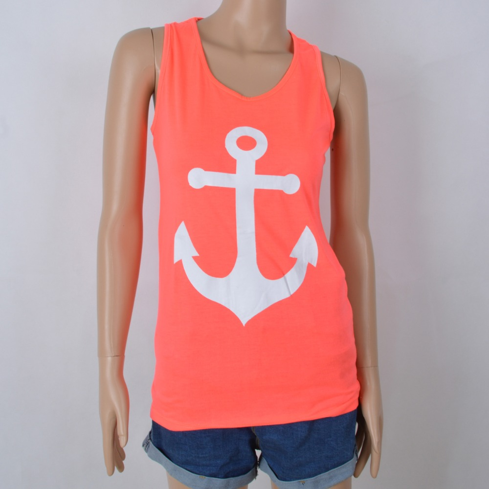 c7db98449 2015 Anchor Tank Tops Graphic Tee Women Back Bow Sleeveless shirt Summer  Style Debardeur Woman