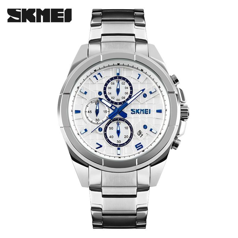 SKMEI Men Fashion Casual Watches Quartz Watch Relogio Masculino Luxury Brand Mens Stainless Steel 50M Waterproof Wristwatches