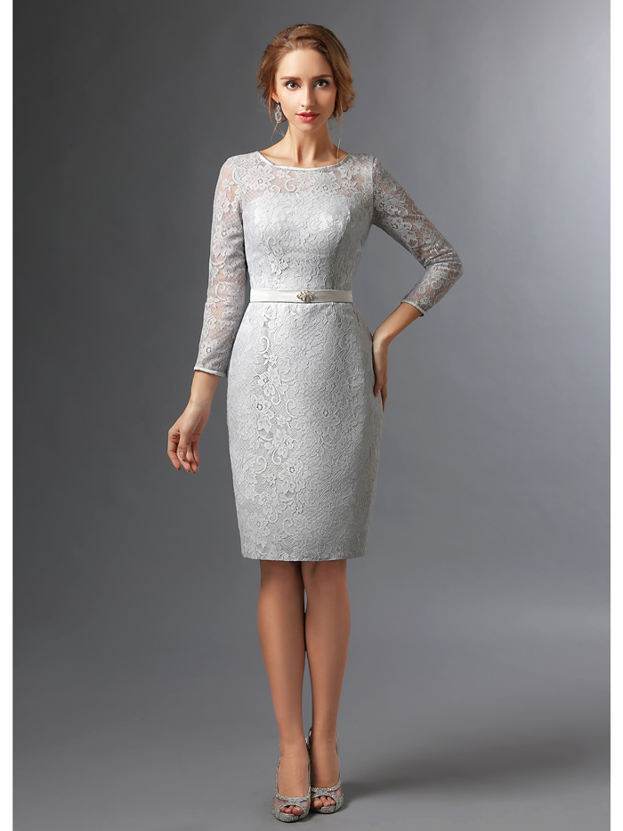 Popular knee length wedding guest dresses with sleeves buy for Knee length wedding dresses with sleeves