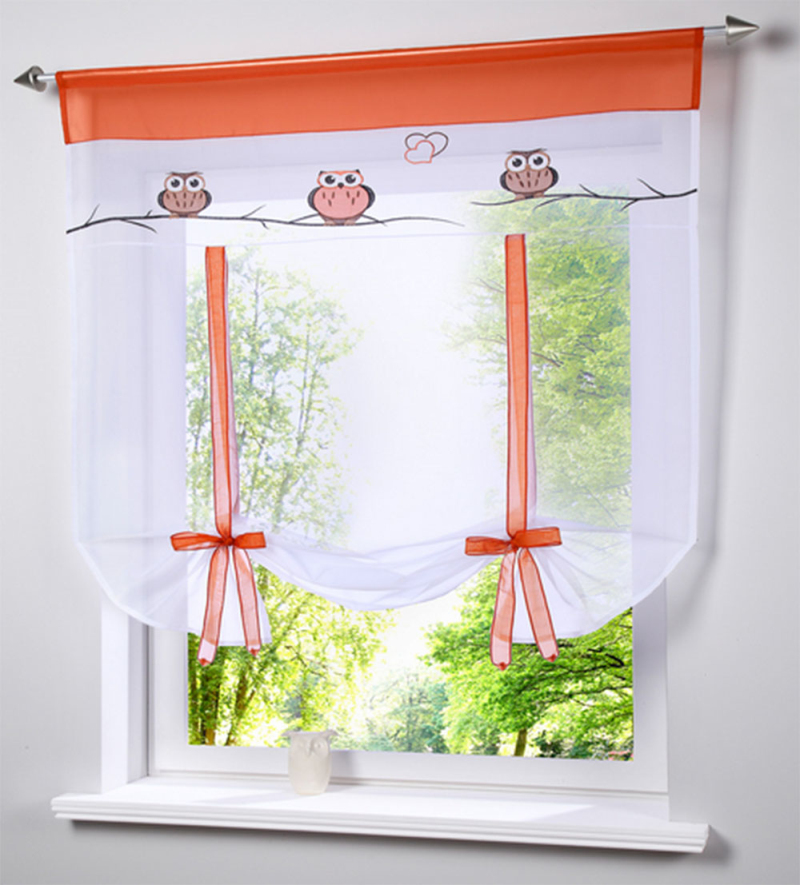 Kitchen Entrance Curtain: 2016 Cafe Kitchen Curtains Voile Window Blind Curtain Owl
